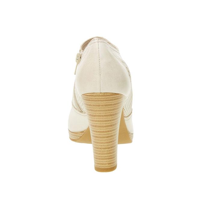 Kožené poltopánky na podpätku bata, biela, 724-8932 - 17