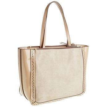 Dámska kabelka s lesklými prvkami bata, béžová, 969-8315 - 13