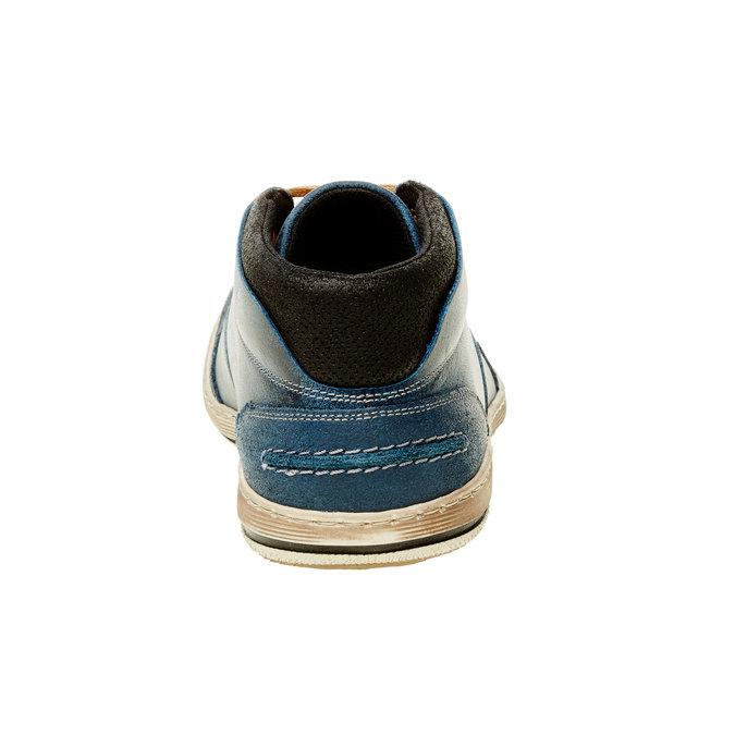 Modré kožené tenisky k členkom bata, modrá, 844-9620 - 17
