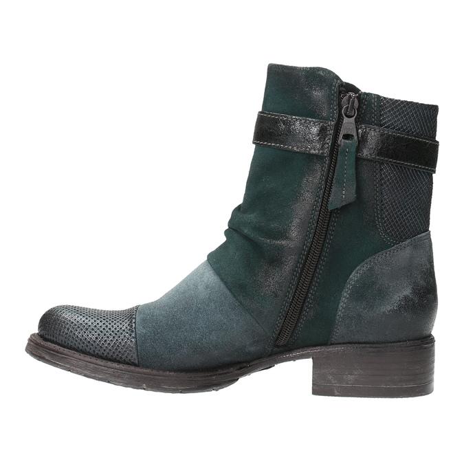 Kožená členková obuv so striebornými detailami bata, 596-9614 - 26