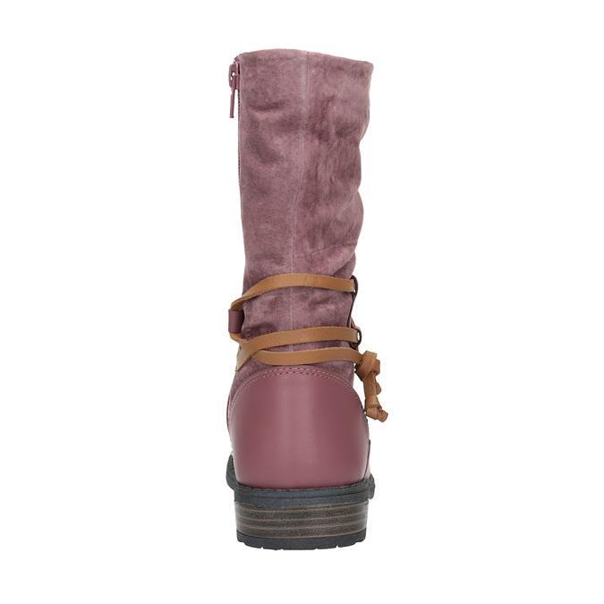 Kožené dievčenské čižmy mini-b, ružová, 394-5100 - 17