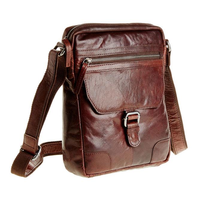 Pánska kožená  Crossbody taška bata, hnedá, 964-4180 - 13