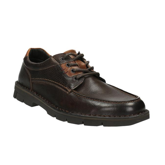 Kožené ležérne poltopánky na výraznej podrážke bata, hnedá, 824-4696 - 13