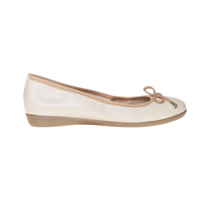 Dámske kožené baleríny bata, béžová, 524-8485 - 15