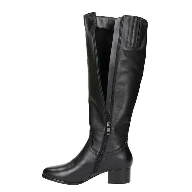Dámske kožené čižmy na nízkom podpätku bata, čierna, 694-6634 - 19