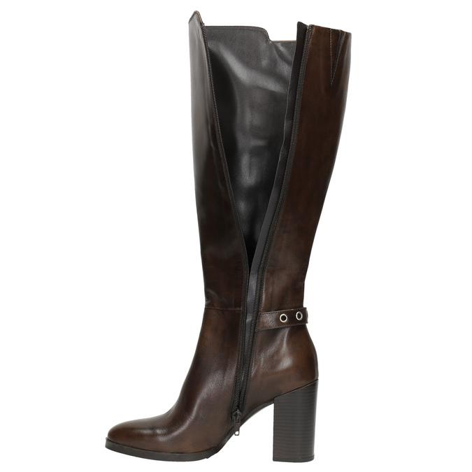 Kožené čižmy na podpätku bata, hnedá, 794-4637 - 19