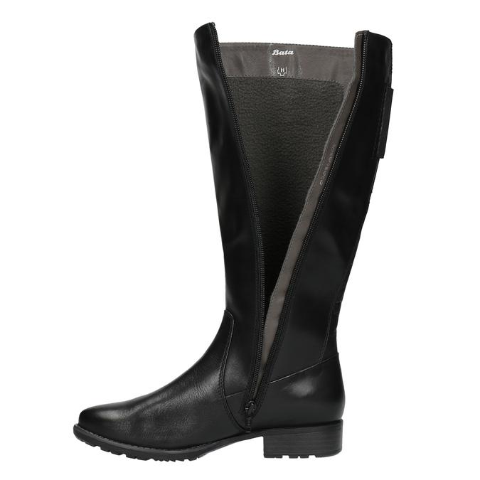 Čierne kožené čižmy šírky H bata, čierna, 596-6611 - 19