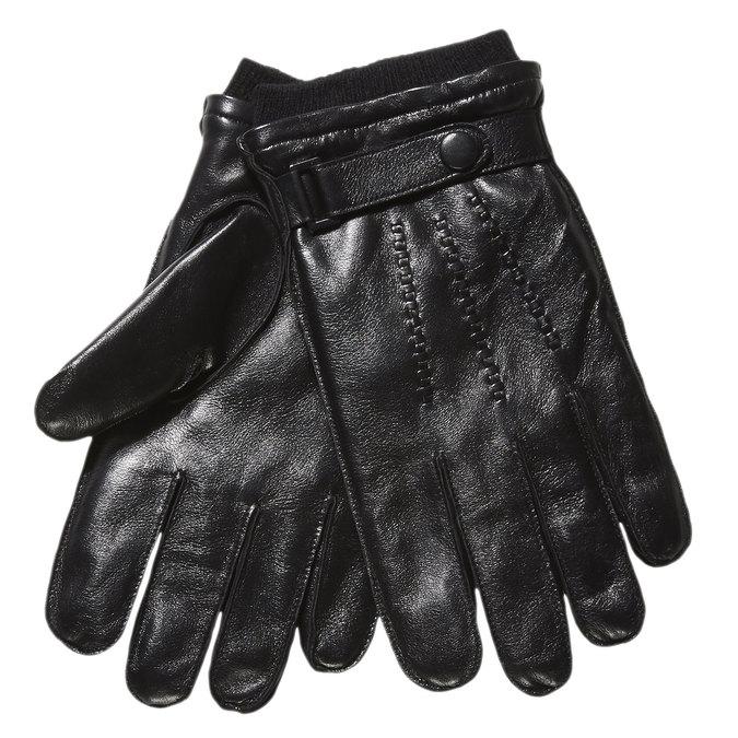 Pánske kožené rukavice s úpletom bata, čierna, 904-6118 - 13