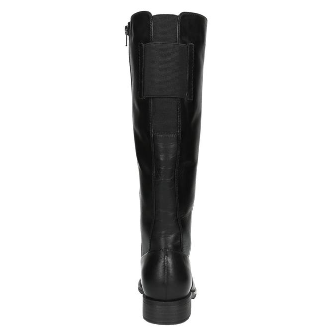 Čierne kožené čižmy šírky H bata, čierna, 596-6611 - 17