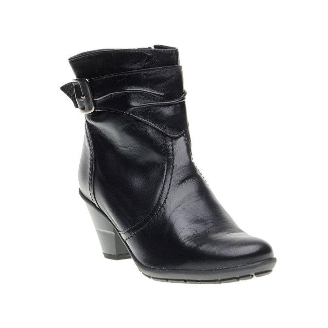Kožená členková obuv na skosenom podpätku bata, čierna, 694-6130 - 13