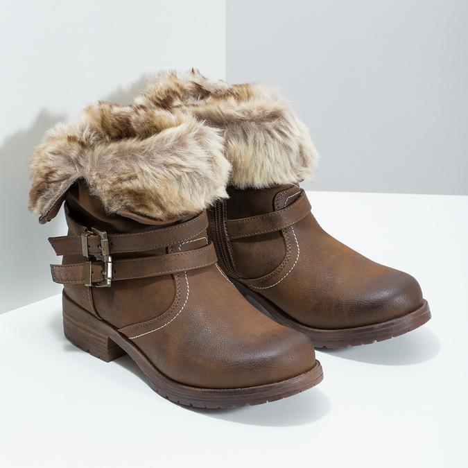 Dámska členková obuv s kožúškom bata, hnedá, 591-4601 - 26