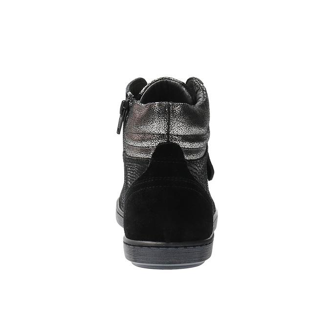 Kožené členkové tenisky so stríebornými odleskami bata, čierna, 596-6613 - 17