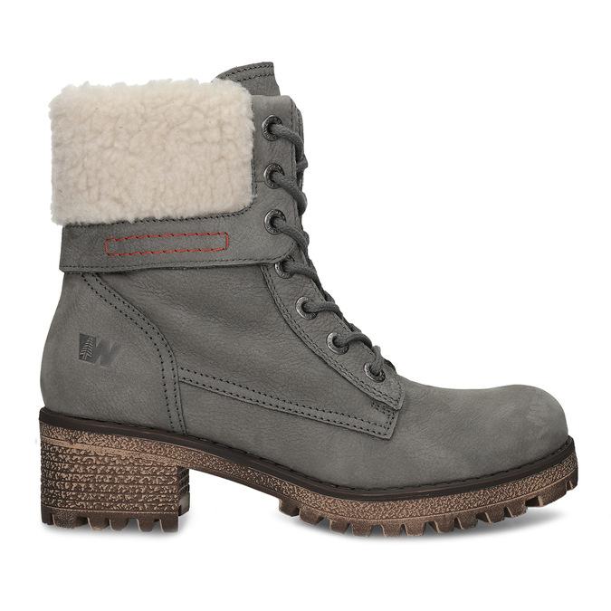 Šedá dámska kožená zimná obuv so zateplením weinbrenner, šedá, 696-2168 - 19