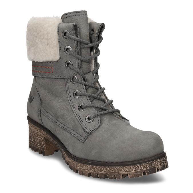Šedá dámska kožená zimná obuv so zateplením weinbrenner, šedá, 696-2168 - 13