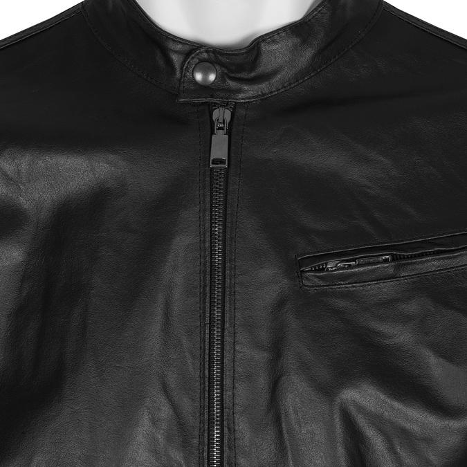 Pánska kožená bunda so štýlovým prešívaním bata, čierna, 974-6142 - 16