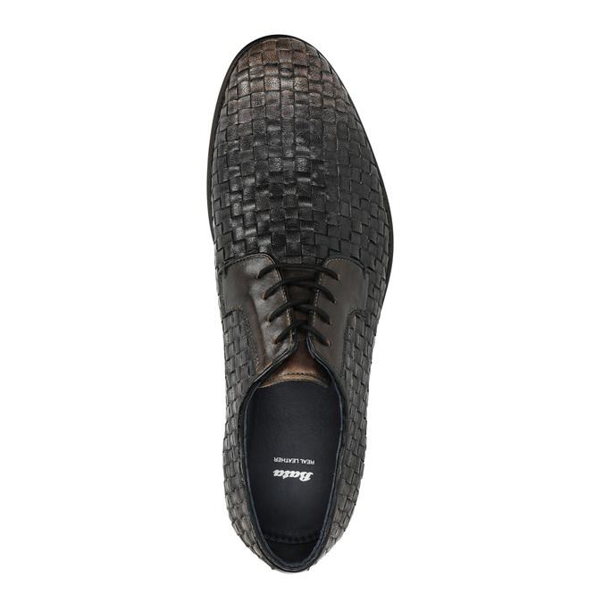 Celokožené poltopánky s pleteným vzorom bata, hnedá, 826-4775 - 19