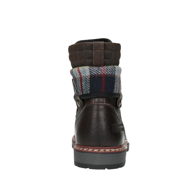 Kožená zimná obuv s károvaným detailom bata, hnedá, 896-4650 - 17