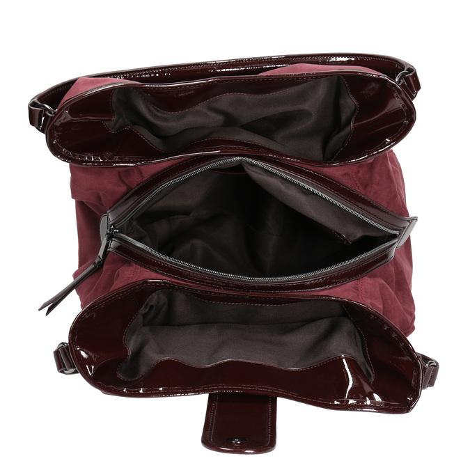 Vínová kabelka s lakovanými detailami bata, fialová, 969-5209 - 15