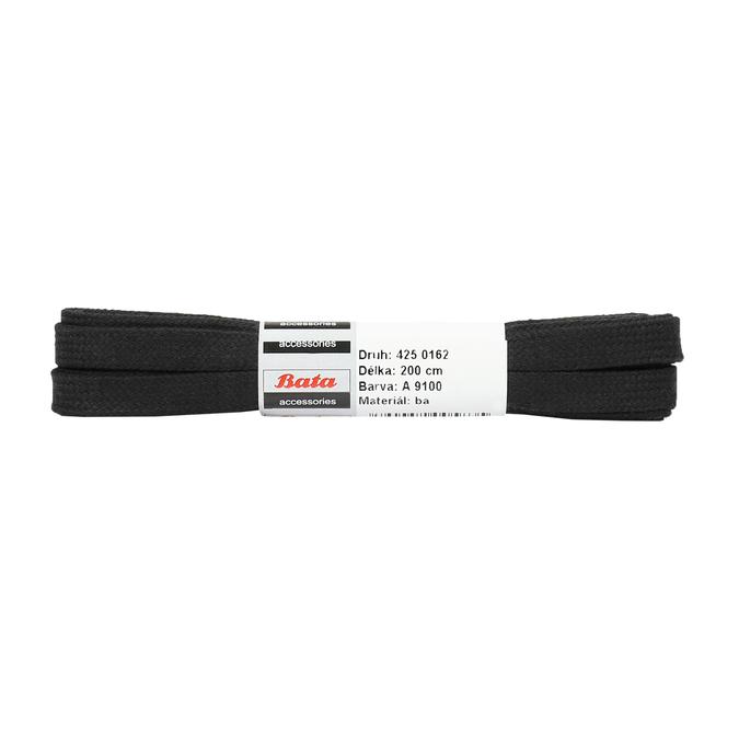 Čierne bavlnené šnúrky 200 cm bata, čierna, 901-6401 - 13