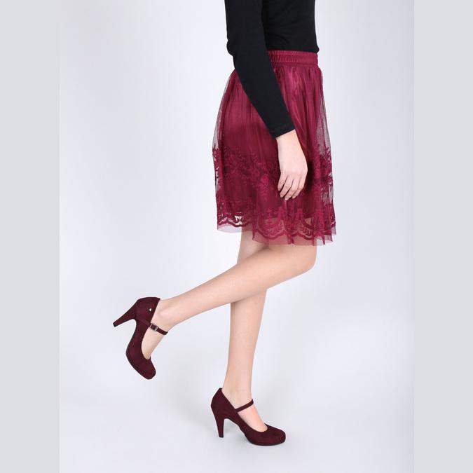 Vínové lodičky s remienkom cez priehlavok bata, červená, 729-5601 - 18
