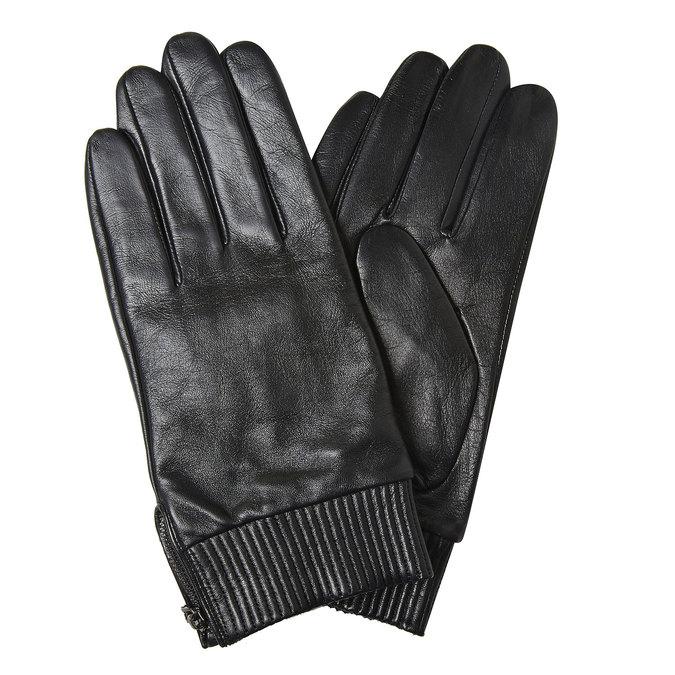 Kožené pánske rukavice bata, čierna, 904-6128 - 13