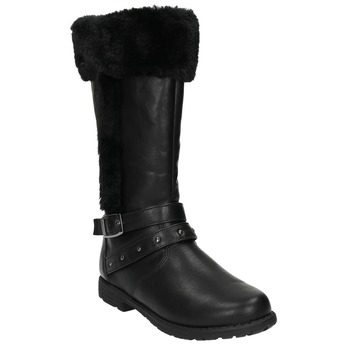 Dievčenské čižmy s kožuškom mini-b, čierna, 391-6600 - 13