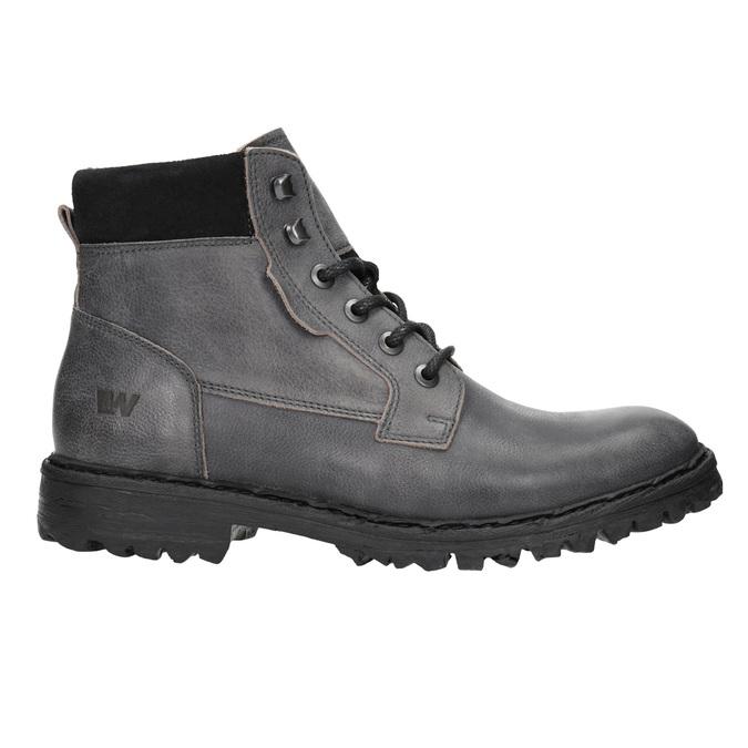 Kožené členkové topánky na výraznej podrážke weinbrenner, šedá, 896-2110 - 15