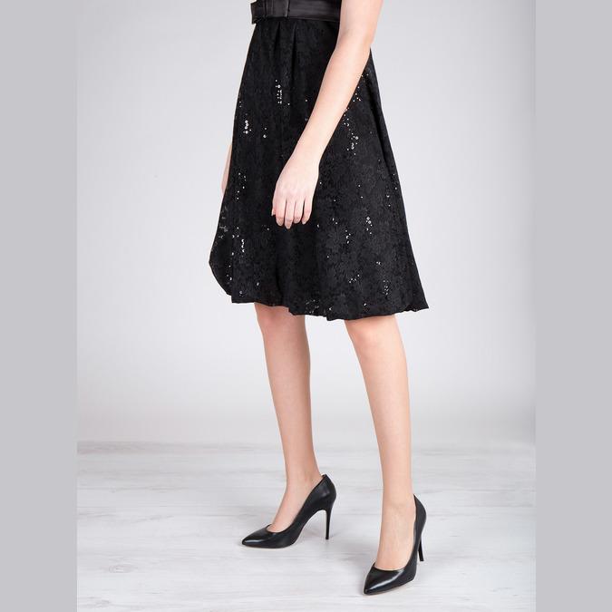 Čierne kožené lodičky bata, čierna, 726-6645 - 18