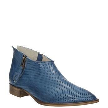 Kožené členkové čižmy s perforáciou bata, modrá, 596-9647 - 13