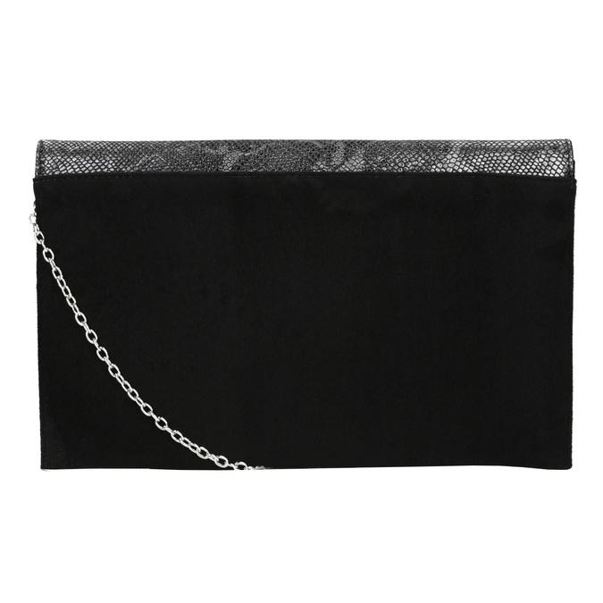 Listová kabelka so striebornou retiazkou bata, čierna, 969-6644 - 19