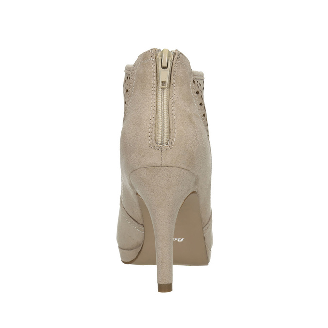 Členkové čižmy s perforáciou bata, béžová, 729-8603 - 17