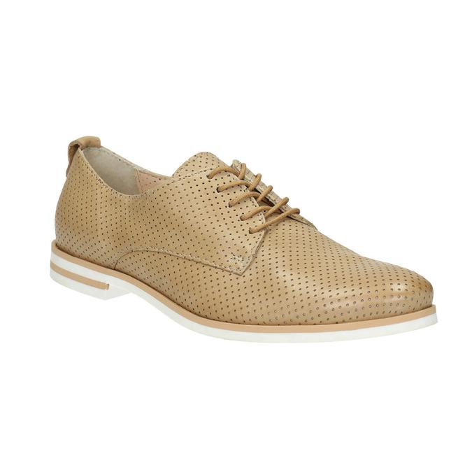 Dámske ležérne kožené poltopánky bata, béžová, 526-3626 - 13