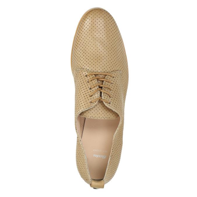 Dámske ležérne kožené poltopánky bata, béžová, 526-3626 - 19