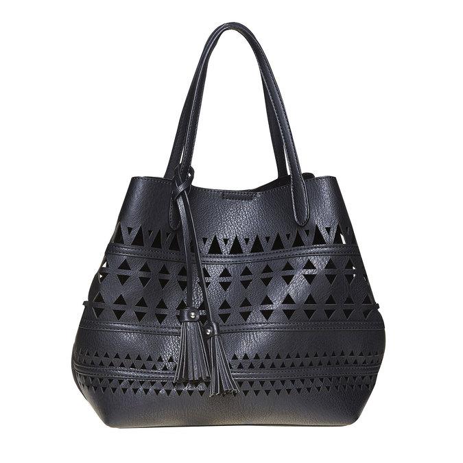 Dámska kabelka s perforáciou bata, čierna, 961-6274 - 17