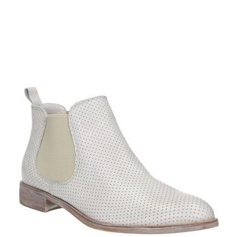 Kožené Chelsea topánky s perforáciou bata, šedá, 596-1651 - 13