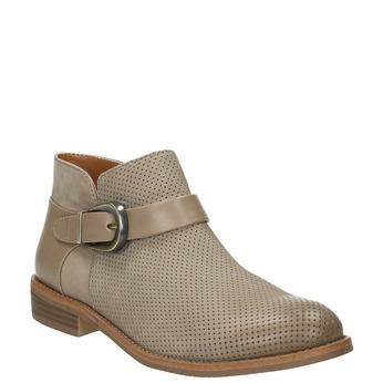Kožená členková obuv so sponou bata, hnedá, 596-3634 - 13
