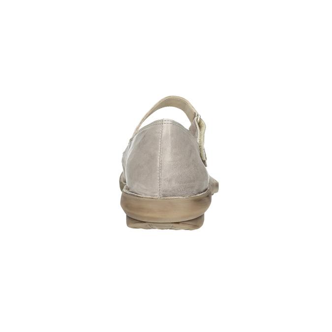 Kožené baleríny s remienkom cez priehlavok bata, béžová, 526-2622 - 17