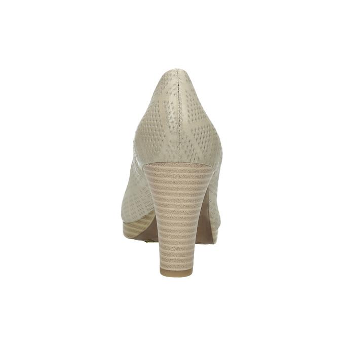 Kožené lodičky s perforáciou pillow-padding, béžová, 726-1642 - 17