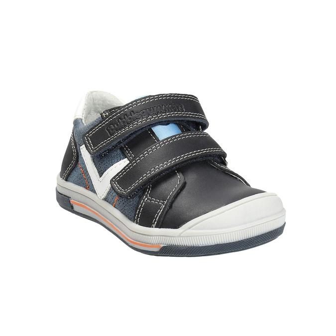 Detské kožené topánky na suchý zips bubblegummers, modrá, 116-9600 - 13