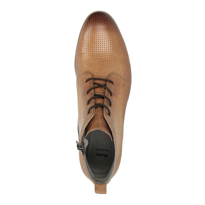 Kožená členková obuv s perforáciou bata, hnedá, 596-4645 - 19