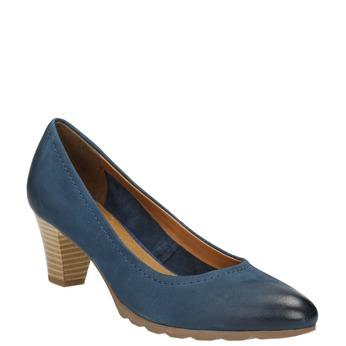 Dámske kožené lodičky bata, modrá, 626-9639 - 13