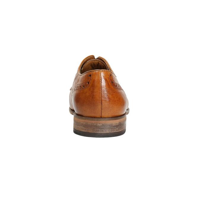 Kožené poltopánky s Brogue zdobením bata, hnedá, 826-3795 - 17