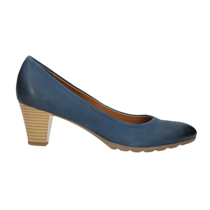 Dámske kožené lodičky bata, modrá, 626-9639 - 15