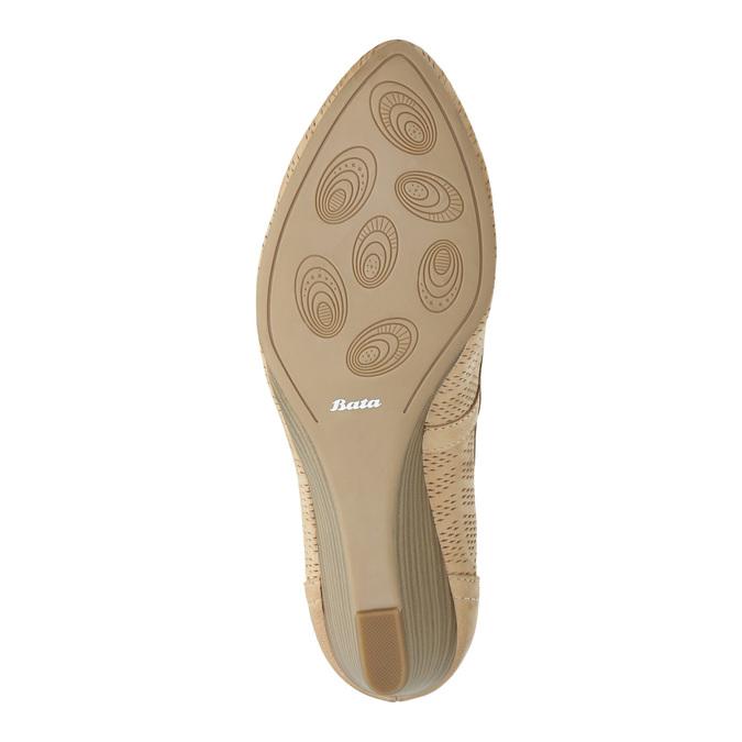 Kožené lodičky na klinovom podpätku bata, béžová, 626-8638 - 26