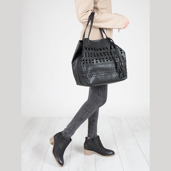 Dámska kabelka s perforáciou bata, čierna, 961-6274 - 18