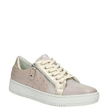 Ružové kožené tenisky so zipsom bata, ružová, 526-5630 - 13
