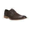 Hnedé kožené poltopánky s výrazným prešitím bata, hnedá, 826-4815 - 13