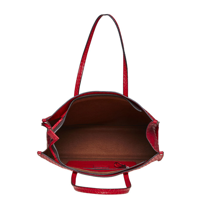 Červená kabelka s pleteným vzorom bata, červená, 961-5289 - 15