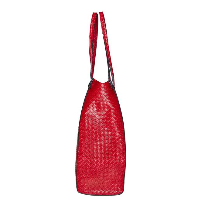Červená kabelka s pleteným vzorom bata, červená, 961-5289 - 17
