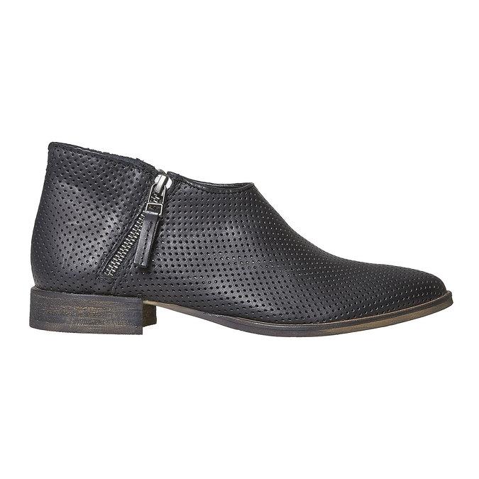 Kožené členkové čižmy s perforáciou bata, čierna, 594-6400 - 15